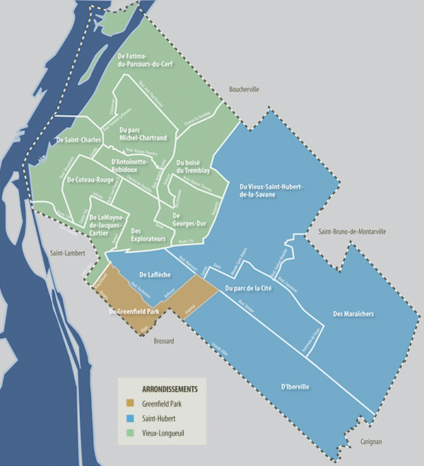 Carte des districts de vos élus de la ville de Longueuil
